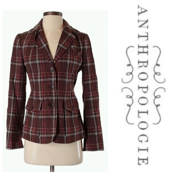 1ce5e6a23 Anthropologie Jackets & Blazers - Anthropologie Cordelia Plaid Wool Blazer  12